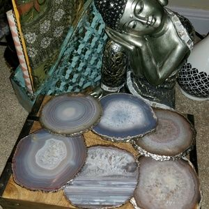Accessories - Silver Plated Natural Agate Coasters - Set of 6